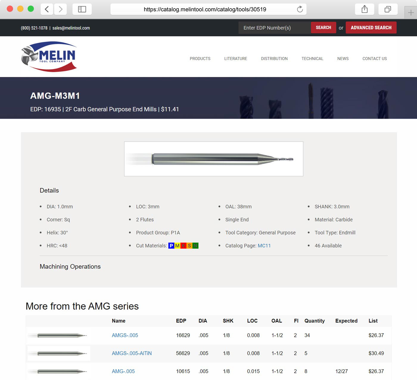 Melin Tool website catalog design
