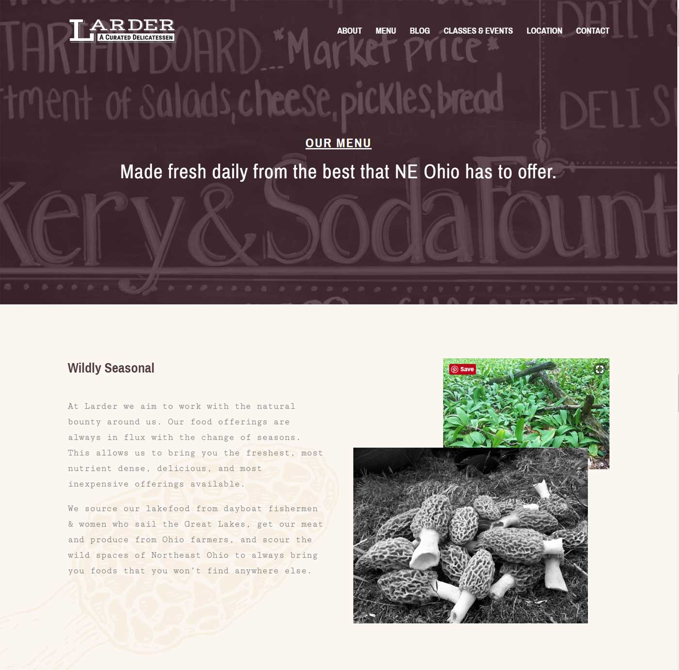 Larder Delicatessen and Bakery menu page