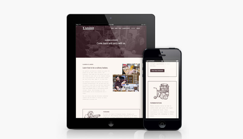 Larder Delicatessen and Bakery mobile website design