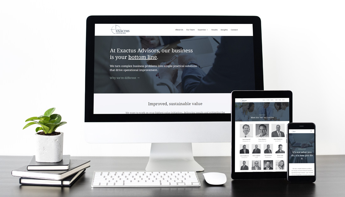 Exactus Advisors responsive website design